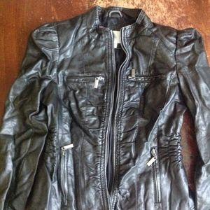 Faux Leather Ruched Moto Jacket Zippers Sz Jrs M